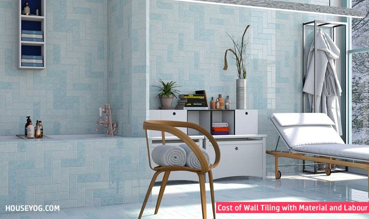 Cost of wall tiles with materials and labour charges